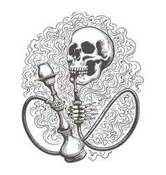 Skull with hookah in a smoke clouds vector