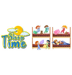 Sleep time sign with many kids in bed vector