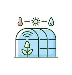 Smart greenhouse rgb color icon vector