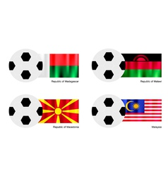 Soccer Ball of Madagascar Malawi Macedonia vector image