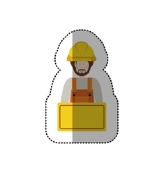Sticker half body worker with toolkit and palque vector