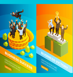 successful business people celebration isometric vector image