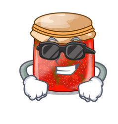 Super cool strawberry marmalade in glass jar of vector