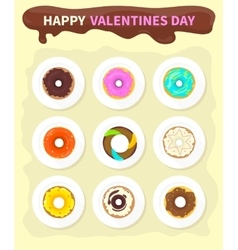 Sweet Donuts Set Design Flat Food Valentine day vector image