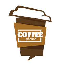 takeaway coffee cup isolated icon cafe or vector image