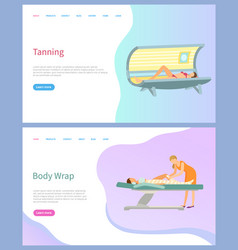 tanning and body wrap beauty services salon page vector image