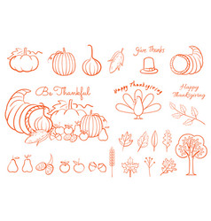 thanksgiving hand drawing element line art for vector image
