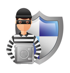 thief man with shield and box safety avatar vector image