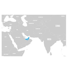United arab emirates blue marked in political map vector