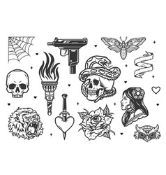 vintage tattoo designs collection vector image