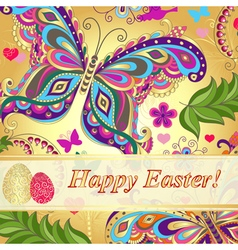 Vivid floral greeting card Happy Easter vector