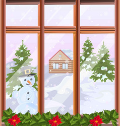 Window view with winter background vector