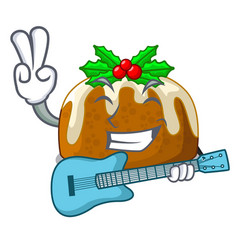 With guitar christmas pudding on dinning table vector