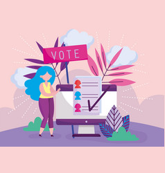 Woman and computer online choose politics election vector