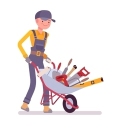 Worker with wheelbarrow vector image