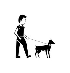 young man walking with their dog pet vector image