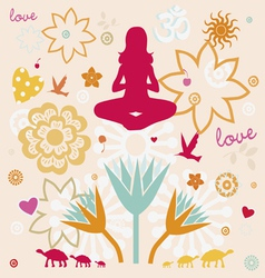 composition of esoteric flower symbols for yoga vector image