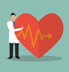 Doctor using stethoscope with big heart vector image vector image