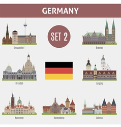 Famous Places cities in Germany vector image