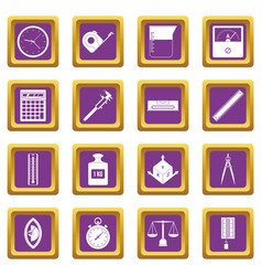 measure precision icons set purple vector image