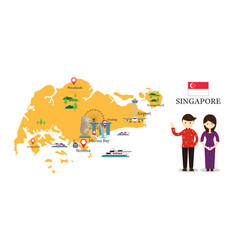 singapore map and landmarks with people in vector image vector image