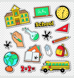 back to school doodle educational stickers vector image