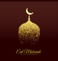 golden mosque make with glitter for eid festival vector image vector image