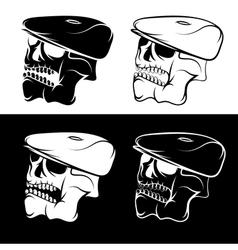 set of skulls in the cap abstract design template vector image