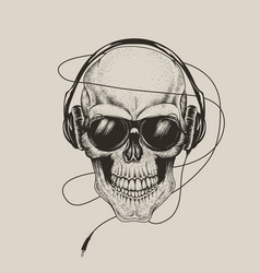 skull in headphones listen a music vector image vector image