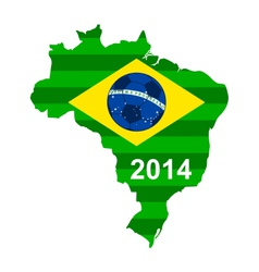Soccer map and flag of Brazil vector image vector image