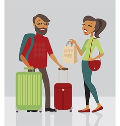 Young family traveling with baggage vector image vector image