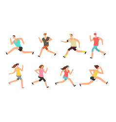 athlete man and woman running energetic people vector image