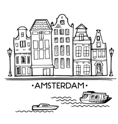 Background with hand drawn doodle Amsterdam houses vector image vector image