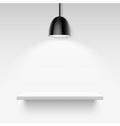 Black ceiling lamp and empty white shelf on a vector image