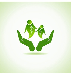 eco-friendly couple under hand concept vector image vector image
