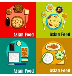 Indian chinese thai and korean cuisine vector image