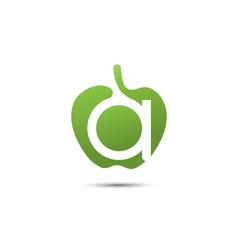 letter a green apple logo vector image