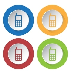 Set of four icons - old mobile phone with antenna vector