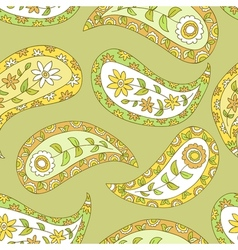 Summer green floral pailsey pattern vector image vector image