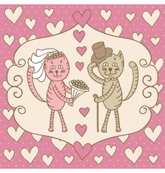 card wedding day love cats vector image