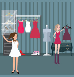 clothing store boutique fashion woman shopping vector image