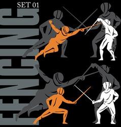 fencing set vector image vector image