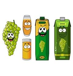 Funny natural green grape fruit and juice cartoon vector