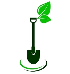 icon with shovel and green leaf vector image