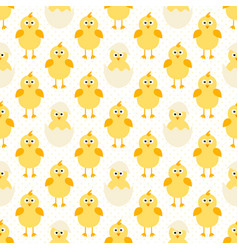 pattern with cute little chickens vector image vector image