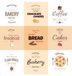 Set of 9 bakery labels vector image vector image