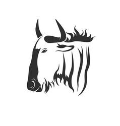 wildebeest head on white background wild vector image vector image