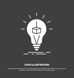 3d cube idea bulb printing box icon glyph symbol vector