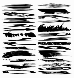 A collection ink strokes brush lines stains vector