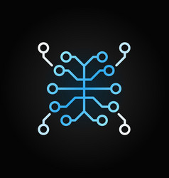 artificial intelligence brain blue line vector image